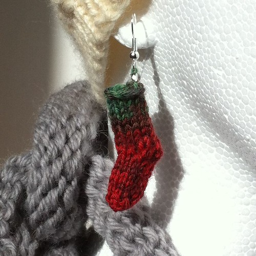 Miniature Sock Stocking Earrings by Beatrixknits