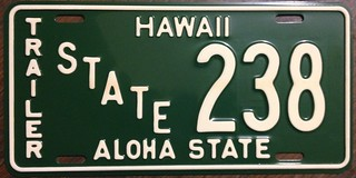 HAWAII 1961-68 ---STATE OWNED TRAILER LICENSE PLATE