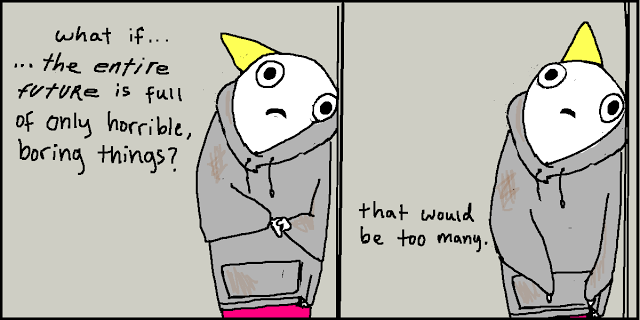 A drawing by Allie Brosh where she wonders whether the future is only full of terrible things