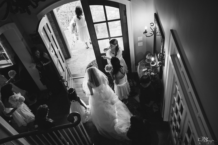 Bride-Black-and-White-leaving-the-building