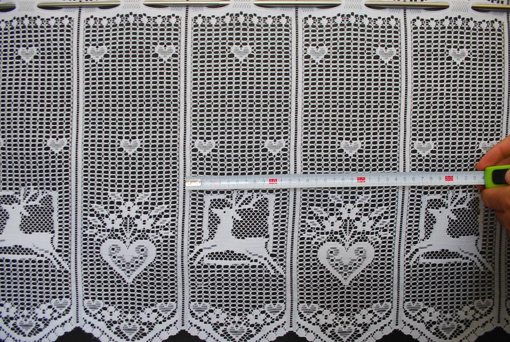 scheibengardine mit hirsch und herz 45x25 wei gardine nach ma. Black Bedroom Furniture Sets. Home Design Ideas