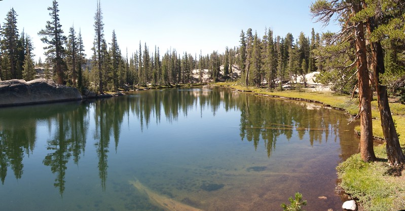 Larger unnamed lake east of Miller Lake just barely visible from the PCT