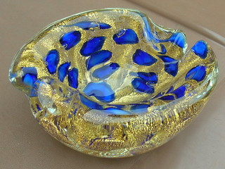 Stunning Murano Sommerso Cased Glass Geode Bowl With Encased Gold Flecks 1960's 70's Mid Century Modern