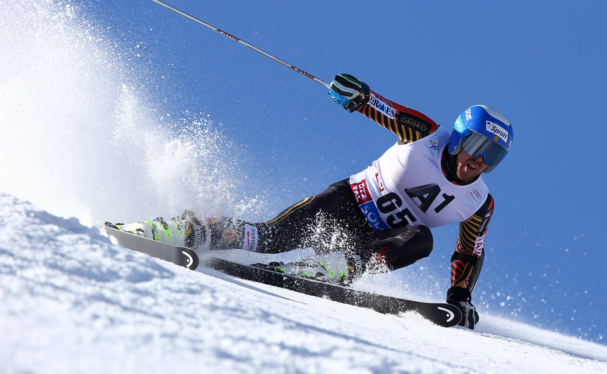 Dustin Cook charges in Soelden, Austria, during the first super-G races of the 2013-14 season.