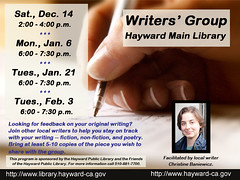 Peer Writers' Group at the Hayward Public Library - Upcoming Schedule of Meetings