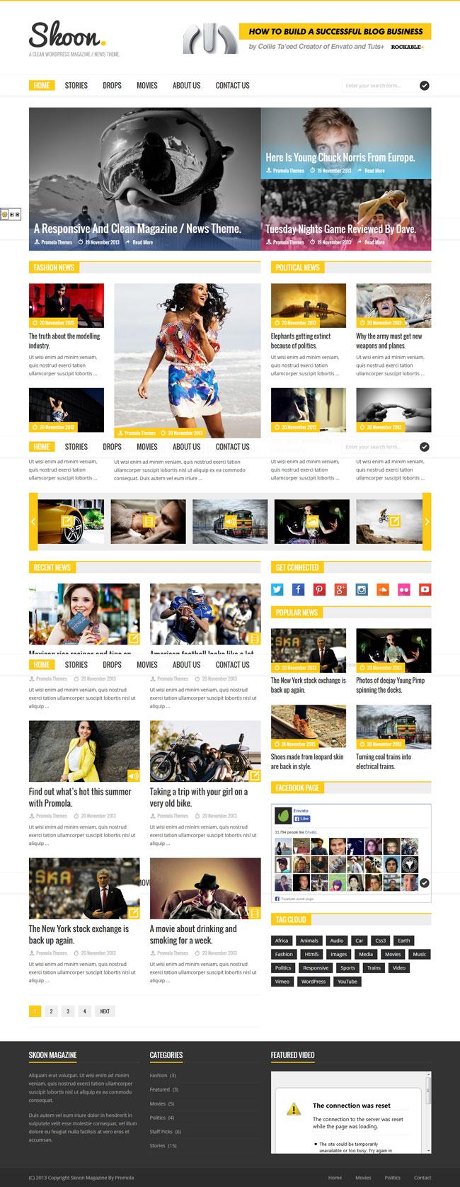 Skoon - WordPress Magazine / News Theme