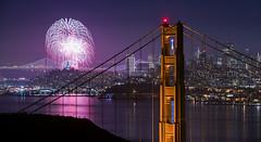 San Francisco NewYear's 2014 fireworks and the Golden Gate Bridge