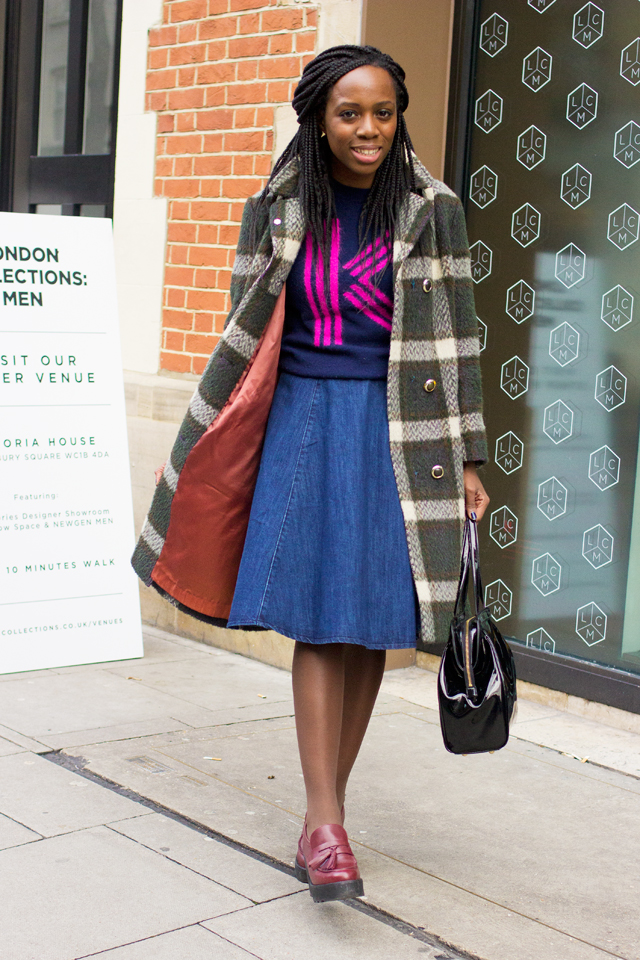 how to wear a check coat