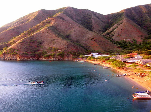 Playa Grande beach in Taganga, Colombia