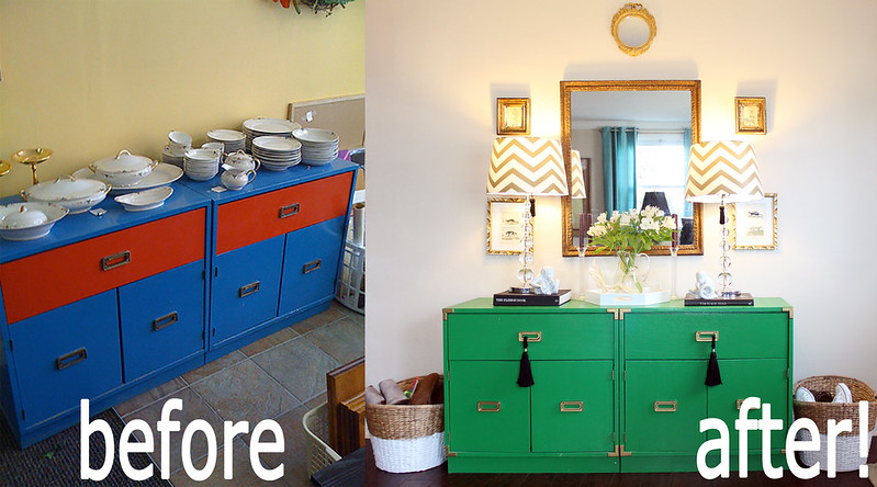 before and after green campaign dresser