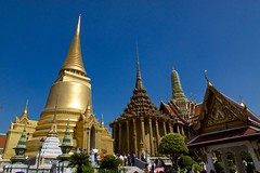 Chedis near Wat Phra Kaew on the grounds of the Grand Palace in Bangkok, Thailand