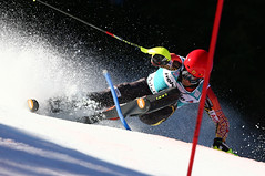 Janyk charges on in the slalom in Adelboden, SUI