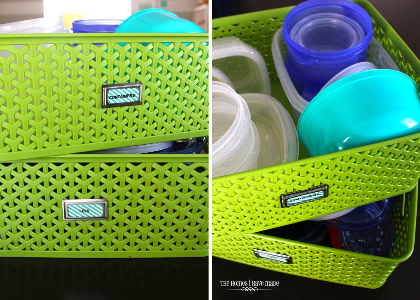 green storage baskets with washi tape labels
