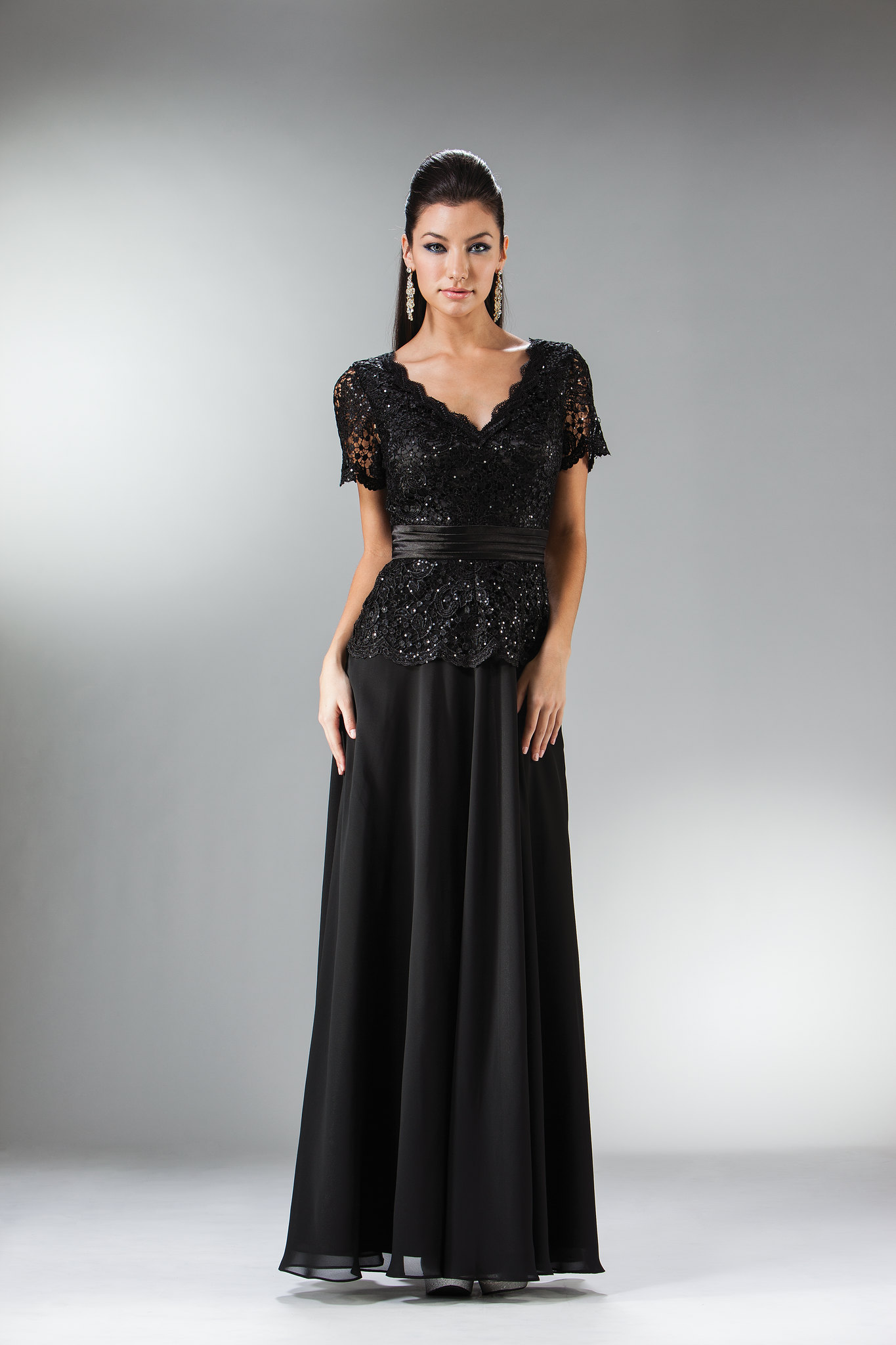 Simply Elegant Lace Bodiced Chiffon Skirt Mother Of The