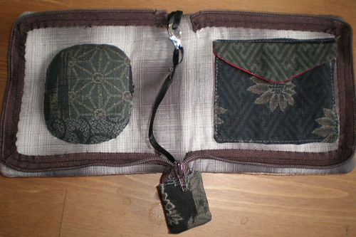 Traditional japanese fabric sewing wallet inside