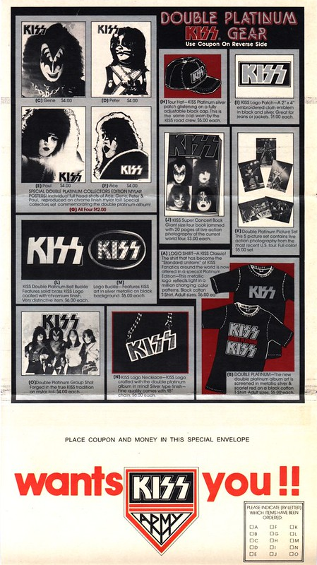 "Kiss ""Double Platinum"" (Merchandise Order Form) (Released: 04/02/78)"