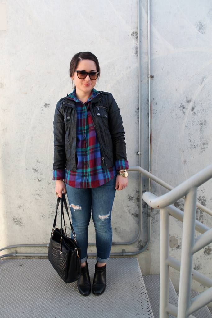plaid-shirt-leather-jacket-destroyed-denim