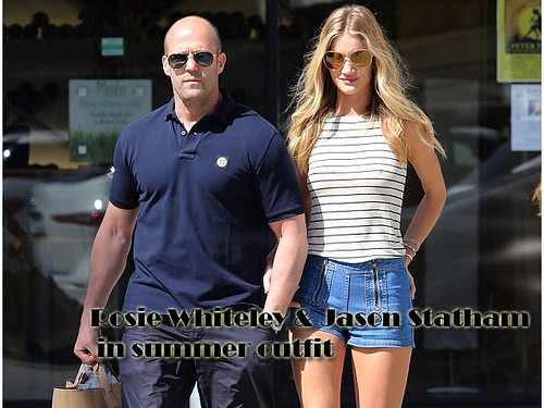 Rosie Huntington-Whiteley & Jason Statham in summer outfit