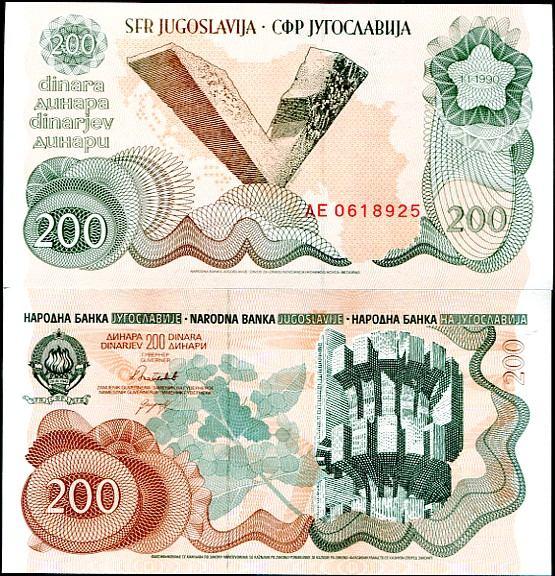 200 Dinárov Juhoslávia 1990, Pick 102