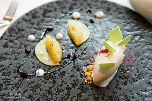 Blackcurrant ice cream, apples crushed in olive oil, lovage meringues