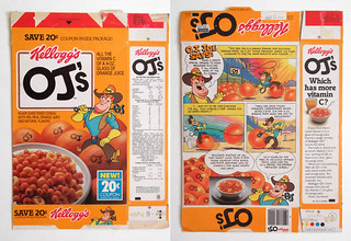 1985 Kellogg's OJ's Cereal Box