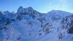 Widok z Szpiglasowej Przełęczy - Rysy, Wysoka, Mięgusz, Cybryna, Zadni Mnich i Mnich, Wrota Chułubińskiego