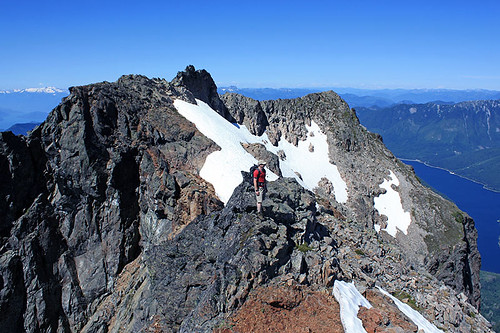 Hiker on Lady Peak Ridge in Cheam Range, Cascade Mountains near Chilliwack, British Columbia
