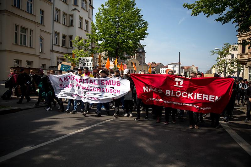 Blockierter Naziaufmarsch am 1. Mai 2017 in Halle
