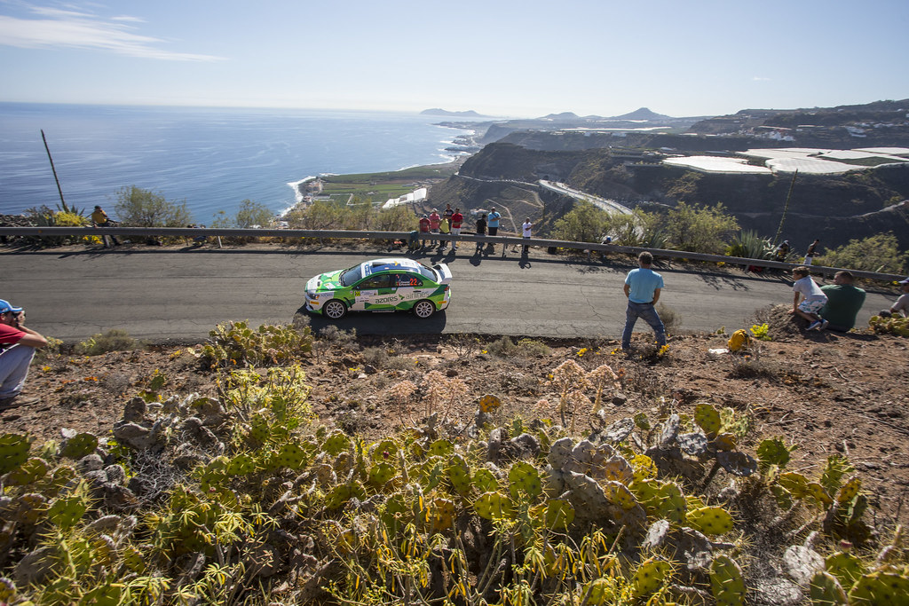 22 PIMENTEL Luis (PRT), PIMENTEL Bruno (PRT), Mitsubishi Lancer evo X, Action during the 2017 European Rally Championship ERC Rally Islas Canarias, El Corte Inglés,  from May 4 to 6, at Las Palmas, Spain - Photo Gregory Lenormand / DPPI
