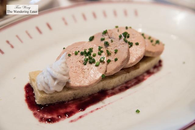 Foie gras torchon, Lardo, Blackberry Vinaigrette