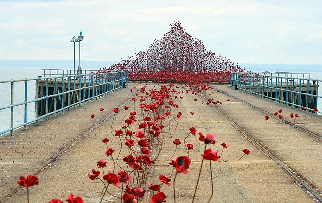 Poppy Wave  (15) Also to the right is Wreck of Mulberry Harbour Phoenix Caisson