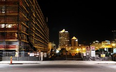 Innovate ABQ construction site at night