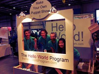 Adorable @LAMakerspace members with their Hello World Puppet project @makerfaire