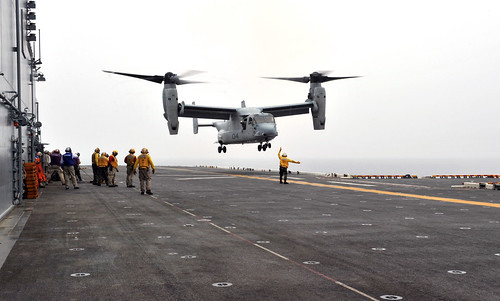 EAST CHINA SEA – The forward-deployed amphibious assault ship USS Bonhomme Richard (LHD 6) embarked four MV-22 Osprey tilt-rotor aircraft from squadron VMM-263 for their maiden Forward Deployed Naval Forces (FDNF) deployment, June 14.