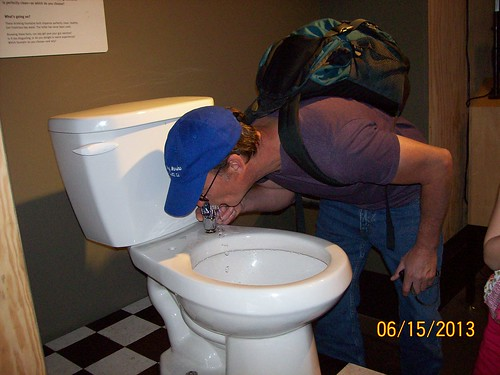 glen drinks from toilet fountain