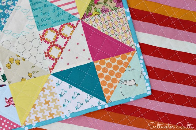 Scrappy Happy Baby Quilt | Half Square Triangles | © Saltwater Quilts 2013