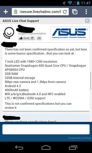 Nexus 7 HD ou K009