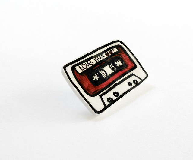 Love Mix Music Cassette Brooch