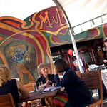 Relaxing outside the Spiegeltent |