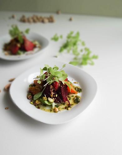charred rainbow beet + pistachio salad