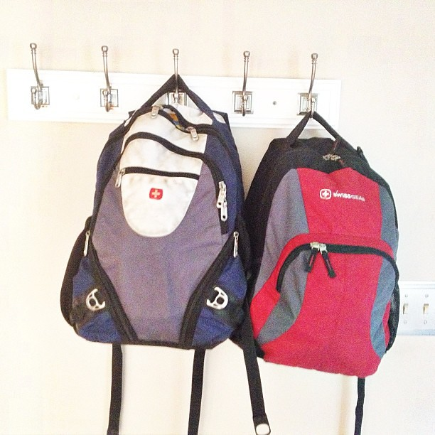 Back packs ready to go for back to school night tomorrow night!  #pictapgo_app #summerisover #backtoschool