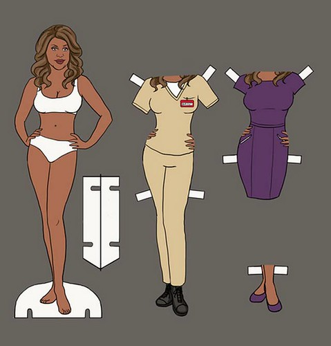 Paper doll of Laverne Cox as Sophia Burset.