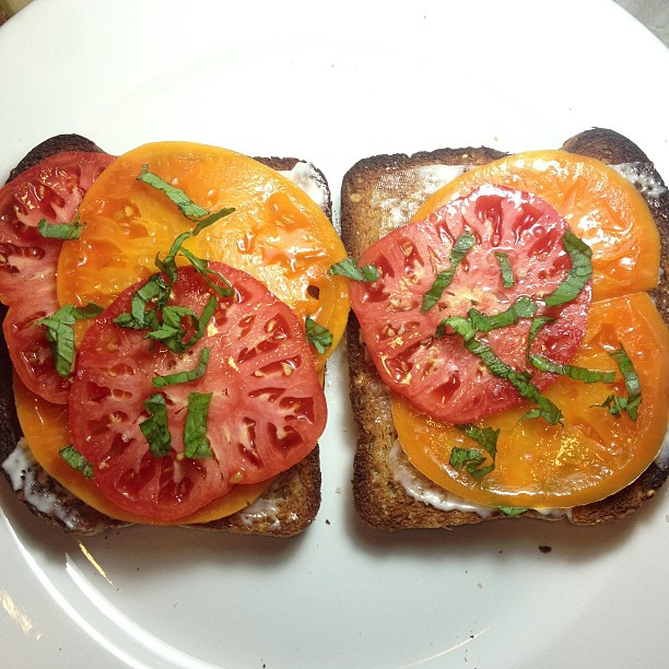 Open face, tomato, #vegan mayo, basil and Himalayan pink salt sandwich.