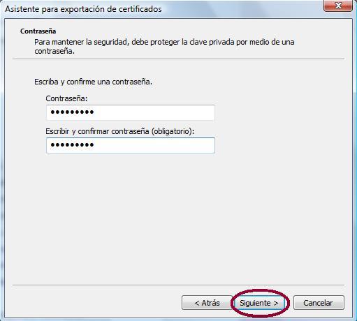 Clave en el fichero de la exportación