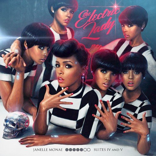 The album cover of Electric Lady, with Janelle Monae surrounded by futuristic women