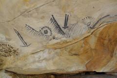 Aboriginal cave art at Yourambulla Aboriginal Caves in the Flinders Ranges South Australia.