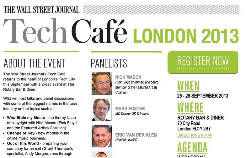 WSJ - Tech Cafe London 2013