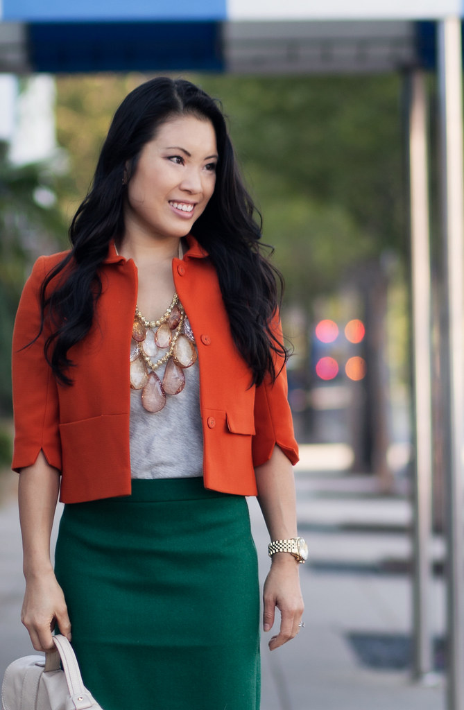 cute & little blog | orange swing blazer, gray tee, amrita singh pint statement necklace, j. crew heather pine green pencil skirt #fall #outfit #ootd