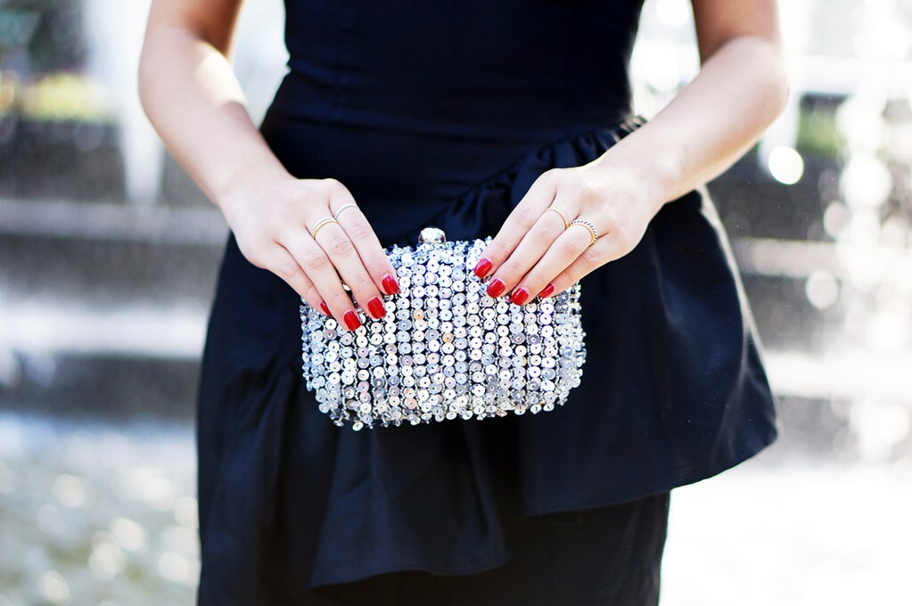 Petite Hues; New York City; NYC Fashion Blogger; Style Blog; Gambita Style; Zara Sequins Clutch; C. Wonder Necklace; Keepsake the Label;   Little Black Dress; Statement Necklace; J. Crew Cameo Chandelier Necklace; Pour la Victoire Chantel Pump; Red Pump; Gorjana Stackable Rings