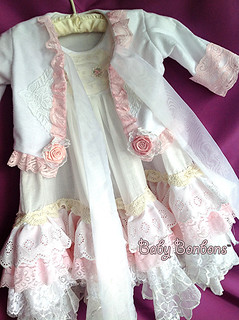 Beautiful luxurious children's lace nightgown and short robe/bedjacket set for Christmas holidays by Rosanna Hope for BAby bonbons